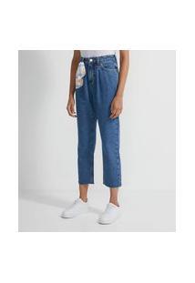 Calça Reta Cropped Jeans Com Lenço No Passantes | Blue Steel | Azul Escuro | 44