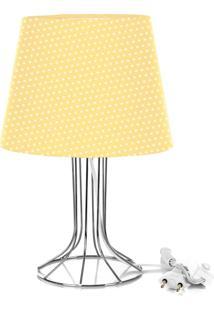 Abajur Torre Dome Amarelo/Bolinha Com Aramado Cromado