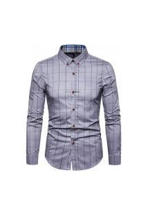 Camisa Masculina Xadrez Kansas - Cinza