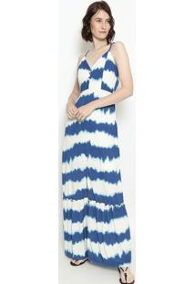 Vestido Longo Abstrato - Azul Marinho & Branco - Estestilo H
