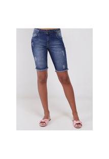 Bermuda Jeans Com Puídos Feminina Azul