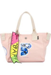 Bapy Bolsa Shopping De Canvas Com Estampa - Rosa