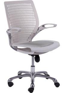 Cadeira Office Age- Branca & Prateada- 100X60X48Cm