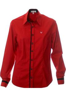 Camisa Pimenta Rosada Poá Bettina - Feminino-Vermelho+Preto