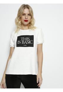 """Blusa Texturizada """"This Is Basic"""" - Off White & Preta"""
