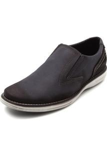 Sapato Social Couro Pegada Recortes Azul