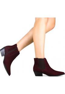 Bota Zariff Shoes Chelsea Em Nobuck Roxo