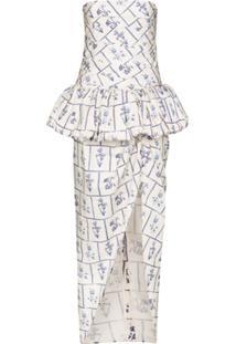 Khaite Gwen Floral-Print Strapless Gown - Azul