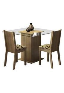 Conjunto Sala De Jantar Madesa Mila Mesa Tampo De Vidro Com 2 Cadeiras Rustic/Bege Marrom Rustic/Bege Marrom