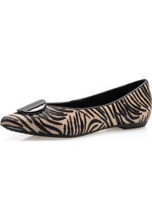 Sapatilha Feminina Corello Fivela Encapada Couro Pelo Corello Sapatilha Zebra
