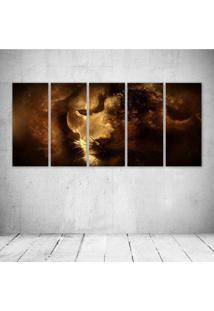 Quadro Decorativo - Fantasy Lion Portrait - Composto De 5 Quadros - Multicolorido - Dafiti