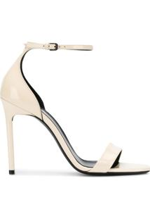 Saint Laurent Sandália Jane Com Salto 105Mm - Neutro