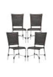 Cadeiras 4Un Para Area Varanda Fibra Sintetica Sala Cozinha Jardim Sacada Romenia - Tabaco
