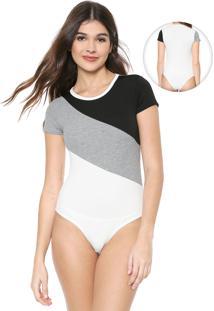 Body Nolita Recortes Preto/Off-White