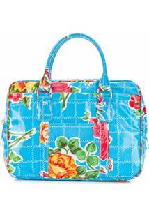 Comme Des Garçons Girl Bolsa Tote Com Estampa Floral E Zíper - Azul