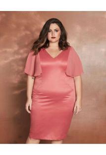Vestido Almaria Plus Size Pianeta Curto Acetinado