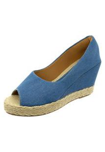 Sandalia Mariha Calçados Anabela Jeans Claro