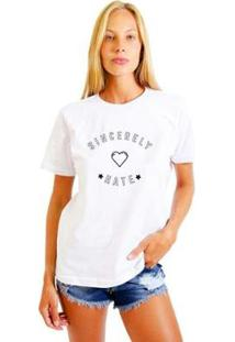 Camiseta Joss Feminina Estampada Sincerely Hate - Feminino-Branco