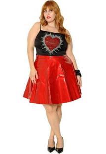 Cropped Plus Size Alça Coração Brilhante - Feminino-Preto