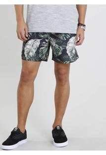 Short Masculino Estampado De Folhagens Com Bolsos Preto