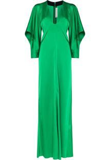 Victoria Beckham Vestido Longo De Cetim - Verde