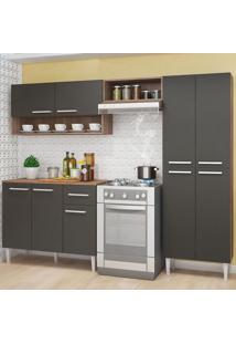 Cozinha Compacta 9 Portas 1 Gaveta Anabela Teka/Grafite - Pnr Móveis