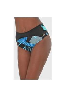 Calcinha Banho De Mar Moda Praia Hot Pant Estampada Preta/Azul