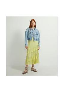 Jaqueta Cropped Jeans Com Elástico Na Barra