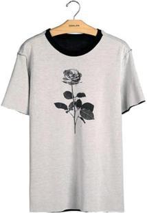 T-Shirt Osklen Double Pocket Cristal Rose Masculina - Masculino-Preto+Bege