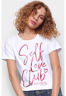 Camiseta Coca Cola Self Love Club Feminina - Feminino-Branco