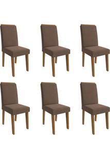 Conjunto Com 6 Cadeiras De Jantar Milena Suede Savana E Chocolate