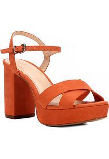 Sandália Couro Shoestock Meia Pata Tiras Cruzadas Feminina - Feminino-Laranja