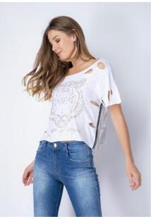 Camiseta Destroyed Lança Perfume Feminina - Feminino