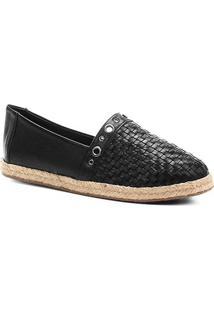 Sapatilha Couro Shoestock Trama Corda Feminina - Feminino-Preto