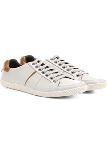 Sapatênis Couro Shoestock Recorte Masculino - Masculino-Off White