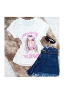 Camiseta T-Shirts Perolado Garota Tumblr Com Pedraria
