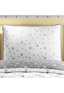 Capa Travesseiro Infantil Cinza Estrelas Grão De Gente Cinza