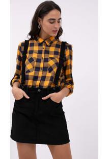 Camisa Xadrez Flanela Amarela