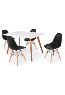 Conjunto Mesa De Jantar Gih 120X80Cm Branca Com 4 Cadeira Eames Eiffel - Preto