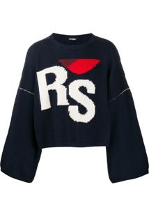 Raf Simons Suéter De Tricô Com Logo E Bordado - Azul
