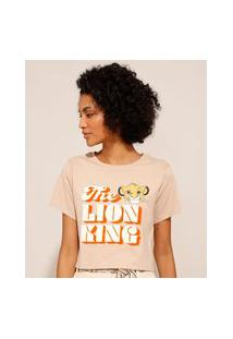 Camiseta Cropped De Algodão Simba O Rei Leão Manga Curta Decote Redondo Bege