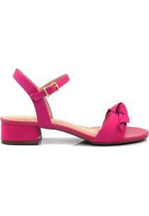 Sandália Salto Grosso Baixo Carmina Couro Feminina - Feminino-Pink