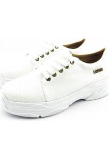 Tênis Chunky Quality Shoes Feminino Escamas Brancas 34