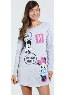 Camisola Feminina Manga Longa Estampa Mickey Minnie Disney