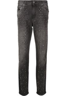 John Richmond Denim Tapered Embellished Jeans - Cinza