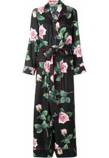 Dolce & Gabbana Macacão De Seda Preto Com Estampa Tropical