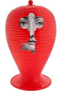 Fornasetti Vaso Vermelho Em Porcelana.