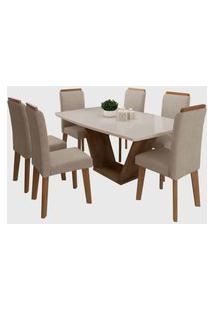 Conjunto Mesa De Jantar Diamante Off-White 1,70X0,90 C/ 6 Cadeiras Rv Móveis