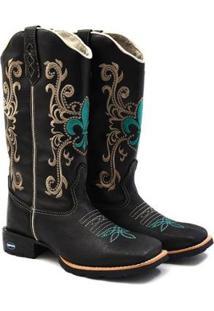Bota Couro Texana Carrero Boots Bordada Country Feminina - Feminino