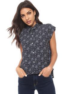 Camisa Cropped Calvin Klein Jeans Floral Azul-Marinho
